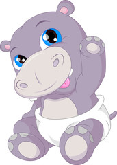 cute baby hippo cartoon waving