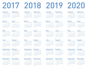 Simple Blue Calendar for years 2017, 2018, 2019 and 2020, in vector format