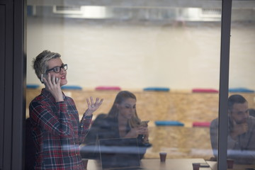 business woman in meeting room  speaking by cell phone