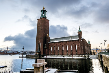 The courtyard of the Stockholm city hall in winter, Sweden.