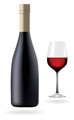 Bottle with red wine and glass, vector