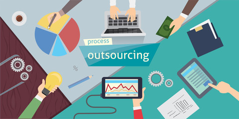 Outsourcing Hiring Outsource. Outsourcing digital design, vector illustration eps 10. overhead.