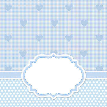 Blue card invitation for baby shower, wedding or birthday party with white stripes. Cute background with white space to put your own text.