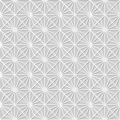 Vector damask seamless 3D paper art pattern background 282 Check Square Star Cross