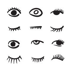 Hand drawn eyes set vector illustration black and white.