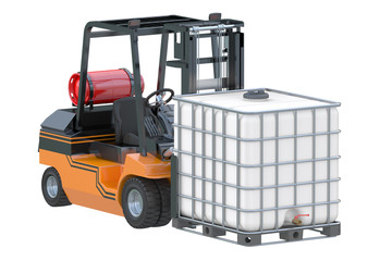 Forklift truck with white water tank on pallet