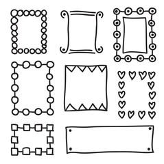 Hand drawn frame set vector icons illustration .
