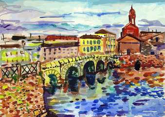 Vector watercolor illustration of Saint-Petersburg sightseeings and seacoast. Good for memory postcard design, any graphic design or book illustration.