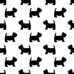 Scottish terrier seamless pattern. Cute dogs on white. Child drawing style puppy background. Design for fabric and decor.