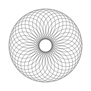 Abstract Spirograph Concentric Circle Pattern on white background