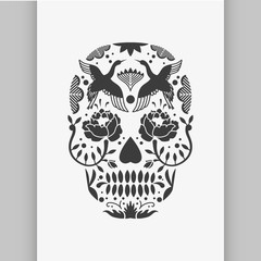 Mexican sugar skull poster or t-shirt print.