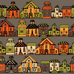 Cartoon village streets in vector.