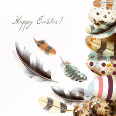 Easter greeting card in pastel colors with painted eggs and real