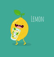 Funny lemon drink lemonade. Vector illustration.