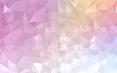 Multicolor pink, yellow polygonal design pattern, which consist of triangles and gradient in origami style.