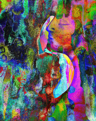 Art project. Portrait of woman and man in art colorful paint Beautiful woman and man painted with many vivid colors.
