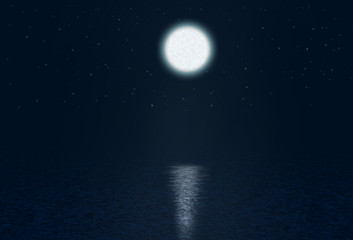 Art Abstract night background with moon and stars over the water