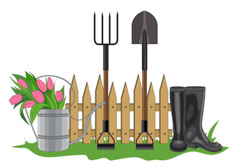 Vector illustration of garden composition