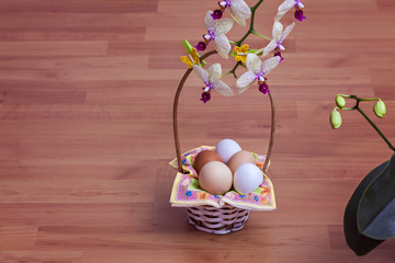 Eggs in a basket with orchids flowers