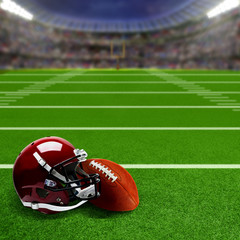 Football Stadium With Helmet and Ball and Copy Space