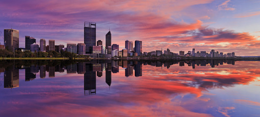 Perth CBD Pink river sunrise panorama