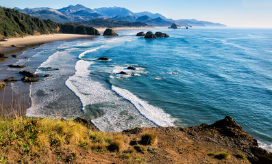 Acrylic Prints Coast Sweeping view of the Oregon coast including miles of sandy beach