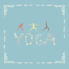 Yoga poses and word yoga.