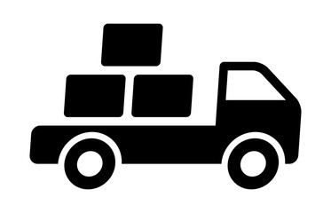 Fast shipping delivery truck with packages flat icon for apps and websites