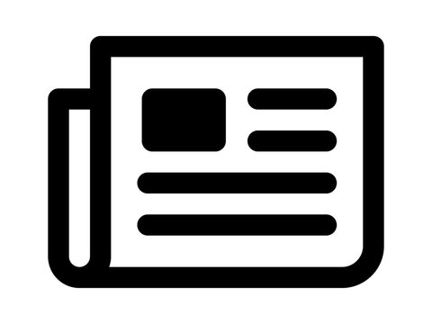 Newspaper breaking news line art icon for apps and websites