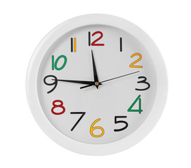 Round wall clock with colorful figures, isolated on white