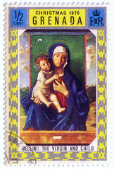 "Grenada - CIRCA 1970: A stamp printed in Grenada shows a painting by the artist Bellini ""Blessed Virgin and child"", circa 1970."