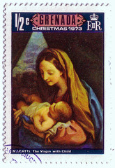 "Grenada - CIRCA 1973: A stamp printed in Grenada shows a painting by the artist Maratti ""the Virgin with child"", circa 1973."