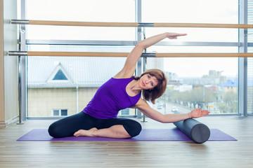 pilates woman stability ball gym fitness yoga exercises girl.