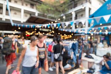 Blurry crowded market
