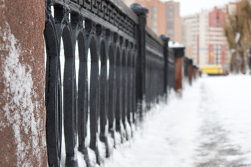 Cast-iron fence in frost