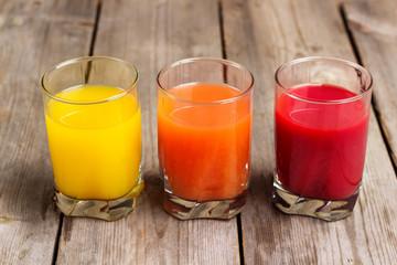 Assortment of fresh juices