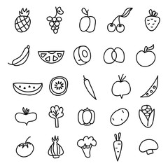 Icons of fruits, vegetables a hand drawn doodle in style. Vector illustration