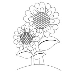 Coloring Book Outlined Sunflower