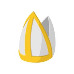Papal tiara icon, cartoon style