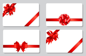 Gift Card with Red Bow and Ribbon Set Vector Illustration