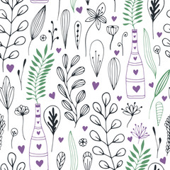 Vector floral pattern with doodle flowers and leaves. Spring nature print for wrapping or textile design.