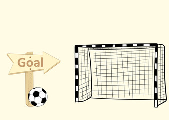 Football goal and sign