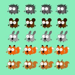 set vector forest animals
