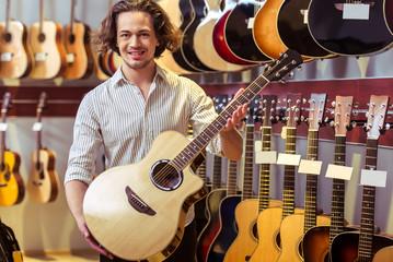 Man in musical shop