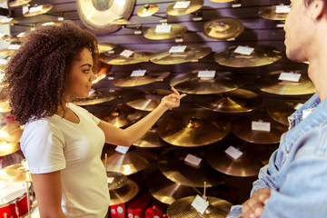 Woman in musical shop