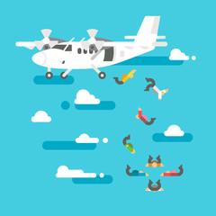 Flat design people skydiving