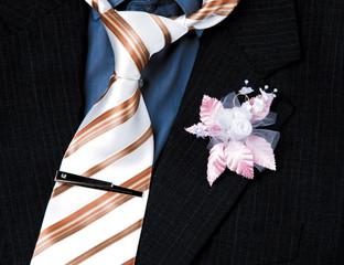 wedding groom suit ,tie and flower closeup
