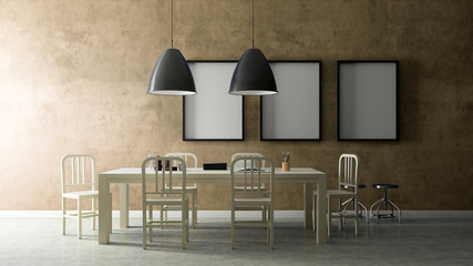 Working set with cream painted wall , 3D Render Image