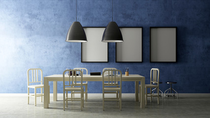 Working set with blue painted wall , 3D Render Image