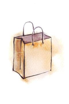 kraft bag watercolor illustration